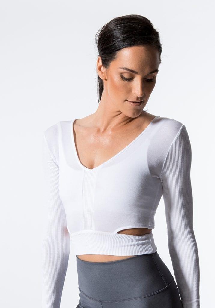 92d1c4aae37ef ALO Yoga Amelia Long Sleep Crop Top -Sexy Yoga Tops white