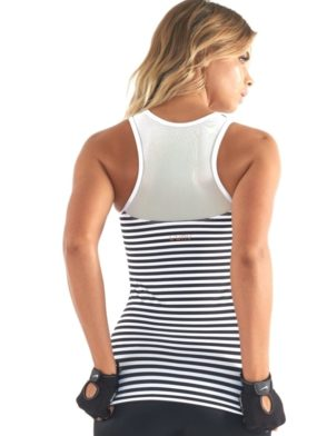 L'URV Nautical and Nice Cami Top Sexy Workout Top Stripes BK WH
