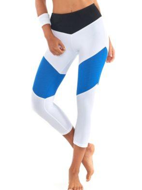 L'URV Leggings Race Ready 3/4 Leggings Sexy Workout Leggings White Blue