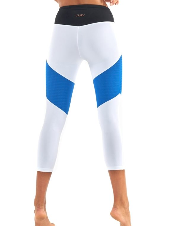 L'URV Leggings Race Ready 3/4 Leggings Sexy Workout Leggings White Blue