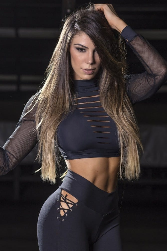 SUPERHOT Long Sleeve Crop Top BL1339 Wild Girl Sexy Workout Top