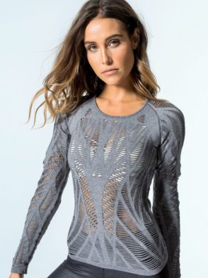 5bc344993 ALO Yoga Wanderer Long Sleeve Top -Sexy Yoga Tops Charcoal Heather ...