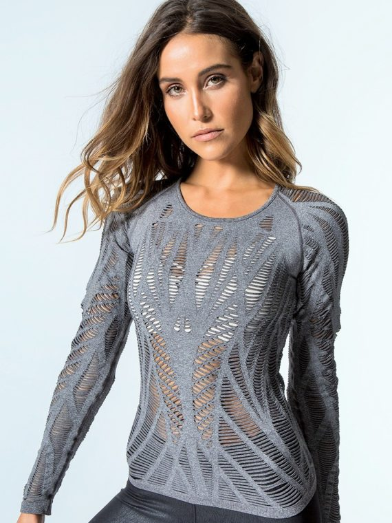 ALO Yoga Wanderer Long Sleeve Top -Sexy Yoga Tops Charcoal Heather