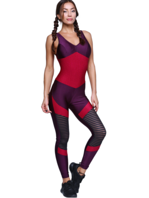 CAJUBRASIL Jumpsuit 9069 Perfect Sexy Workout  Romper Deep Burgundy Purple