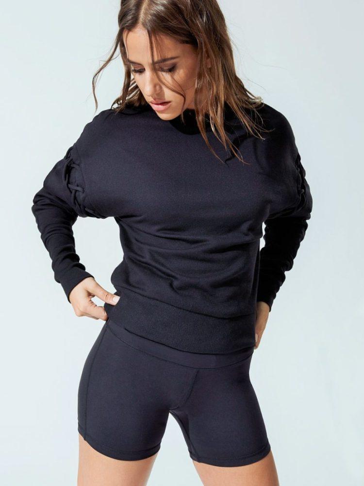 ALO Yoga HOOK-UP LONG SLEEVE TOP Black Sexy Yoga Workout Top
