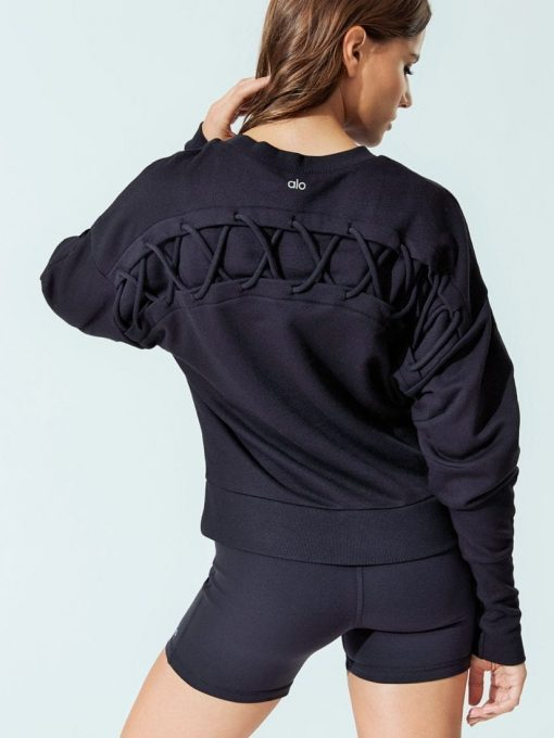 ALO Yoga HOOK-UP LONG SLEEVE TOP Black Sexy Yoga Workout Top