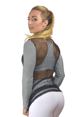 CAJUBRASIL Long Sleeve Shirt 9045 La Belle-Sexy Workout Top-Yoga Top Charcoal