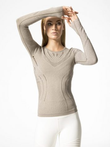 ALO Yoga Lark Long Sleeve Top -Sexy Yoga Tops Gravel