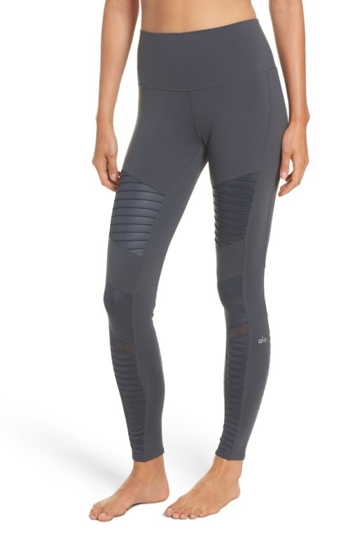 ALO Yoga Sexy High-Waist Moto Yoga Leggings Sexy Pilates Leggings Anthracite