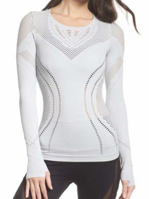 ALO Yoga Lark Long Sleeve Top -Sexy Yoga Tops Dove Grey Heather