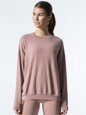 ALO Yoga Long Sleeve Soho Pullover – Sexy Yoga Tops Rosewater