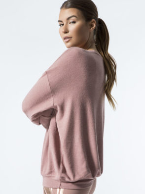 ALO Yoga Long Sleeve Soho Pullover - Sexy Yoga Tops Rosewater