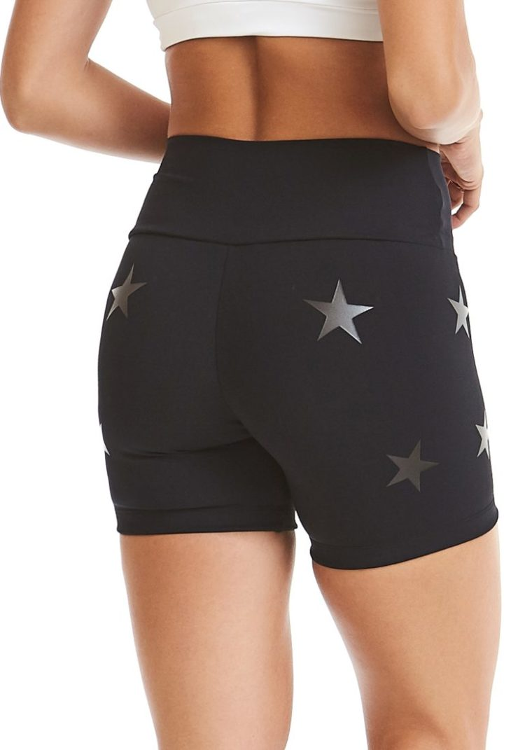CAJUBRASIL Shorts 9604 Knockout Stars Black - Sexy Yoga Shorts- Brazilian