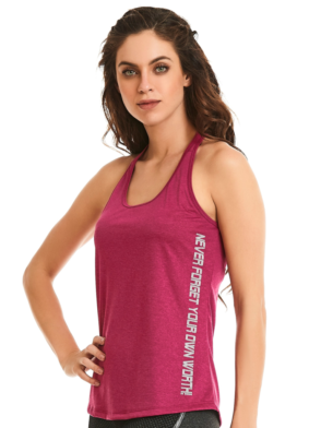 CAJUBRASIL-9607 Raspberry Sexy Workout Tank Top- Yoga Pilates Top