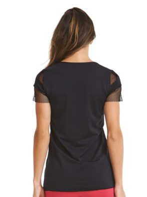 CAJUBRASIL-9659 Black Sexy Workout T-Shirt- Yoga Pilates Top