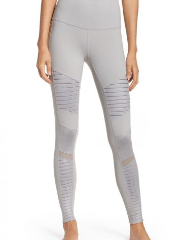 ALO Yoga Sexy High-Waist Moto Yoga Leggings Sexy Pilates Leggings Alloy