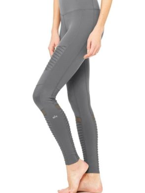 ALO Yoga Sexy Moto Yoga Leggings Sexy Pilates Leggings Slate
