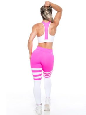 Bombshell Leggings 030466 Sexy Pink Sriped College side