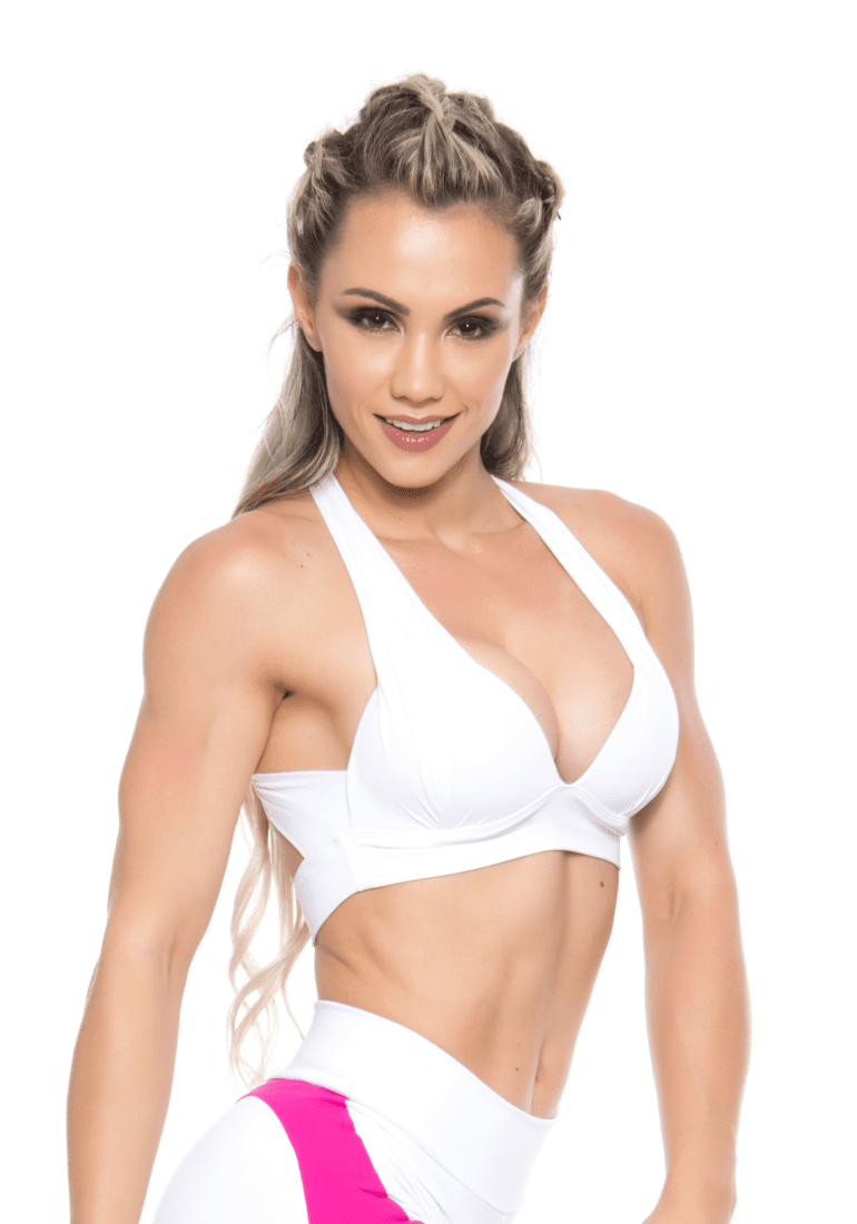 BOMBSHELL BRAZIL Sports Bra Bulge - White -Sexy Workout Top