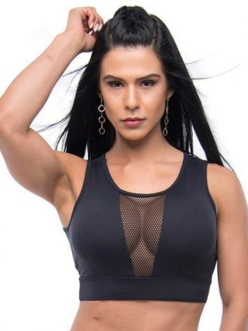 BFB Activewear Sports Bra Crop Top Strip – Black