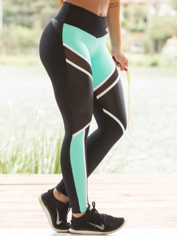 OXYFIT Leggings Ease 64114 Black Mint – Sexy Workout Leggings