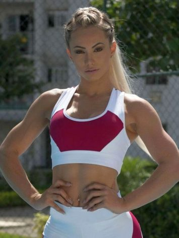 BOMBSHELL BRAZIL Sports Bra Fabulous Marsala - White -Sexy Workout Top