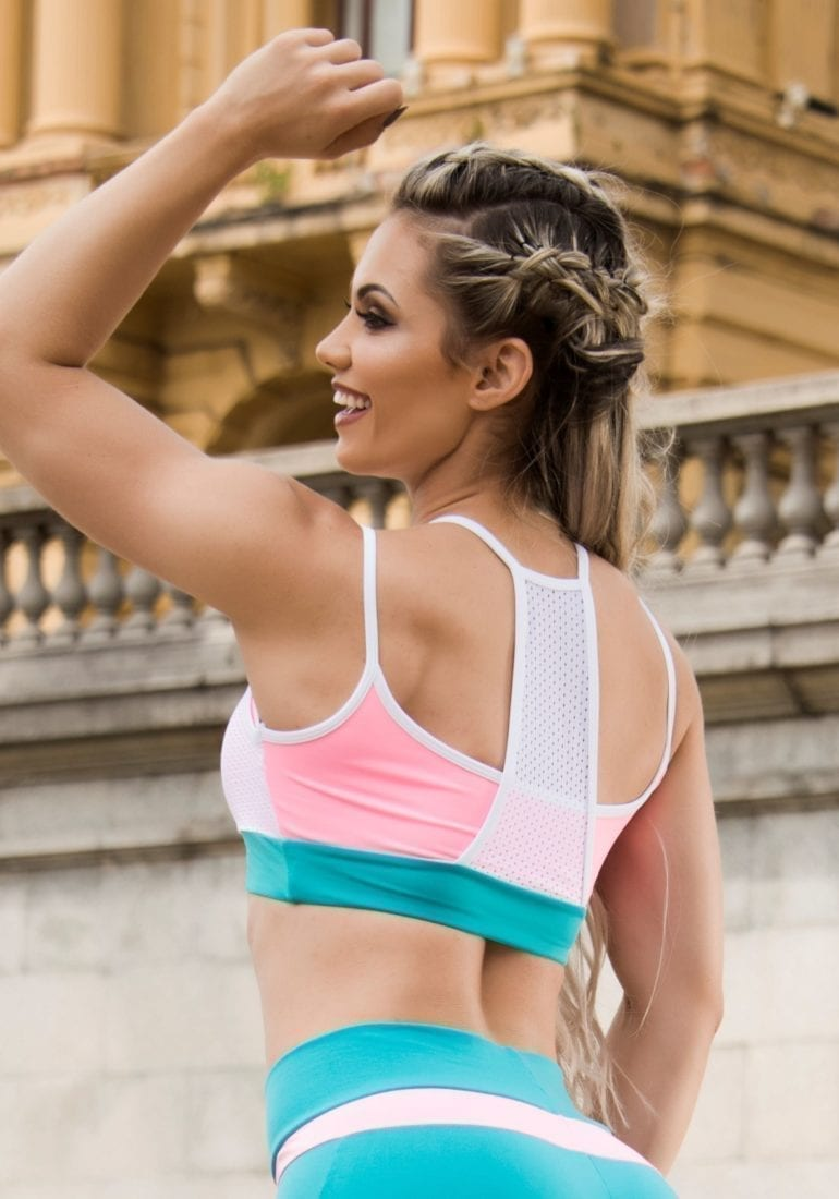 BOMBSHELL BRAZIL Sports Bra Top Fit Girl - White Teal -Sexy Workout Top