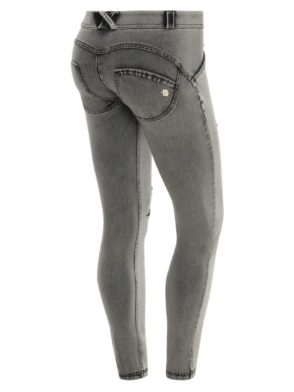 FREDDY WR.UP Shaping Effect - Regular Waist - Skinny - Distressed Light Grey Denim with Embroidery