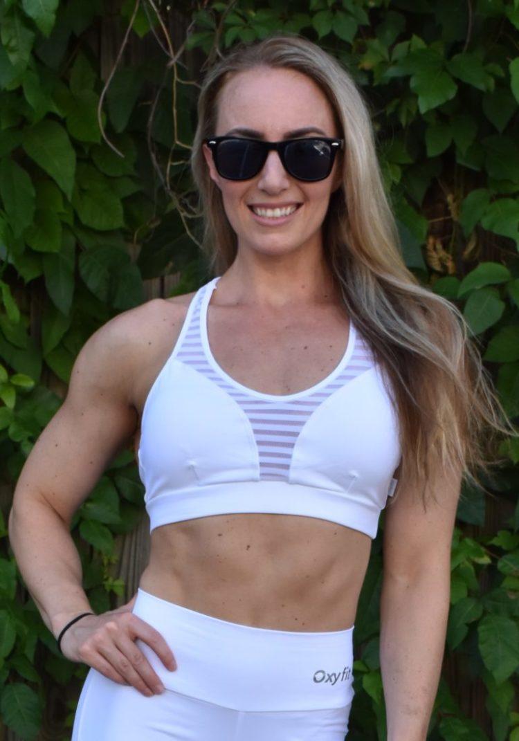 OXYFIT Bra Top Score 27070 Contour White- Sexy Workout Bra - Cute Yoga Top