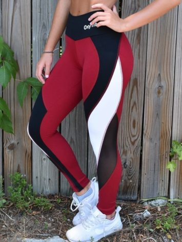 OXYFIT Leggings Reach 64123 Red- Sexy Workout Leggings