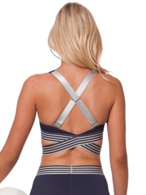 L'URV Sports Bra EVOLUTION STRIPE CAMI Sexy Workout Top Navy