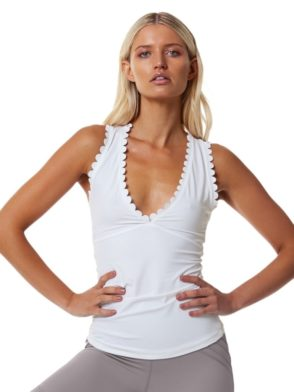 L'URV Tank I AM ON CLOUDS CAMI Sexy Workout Top White