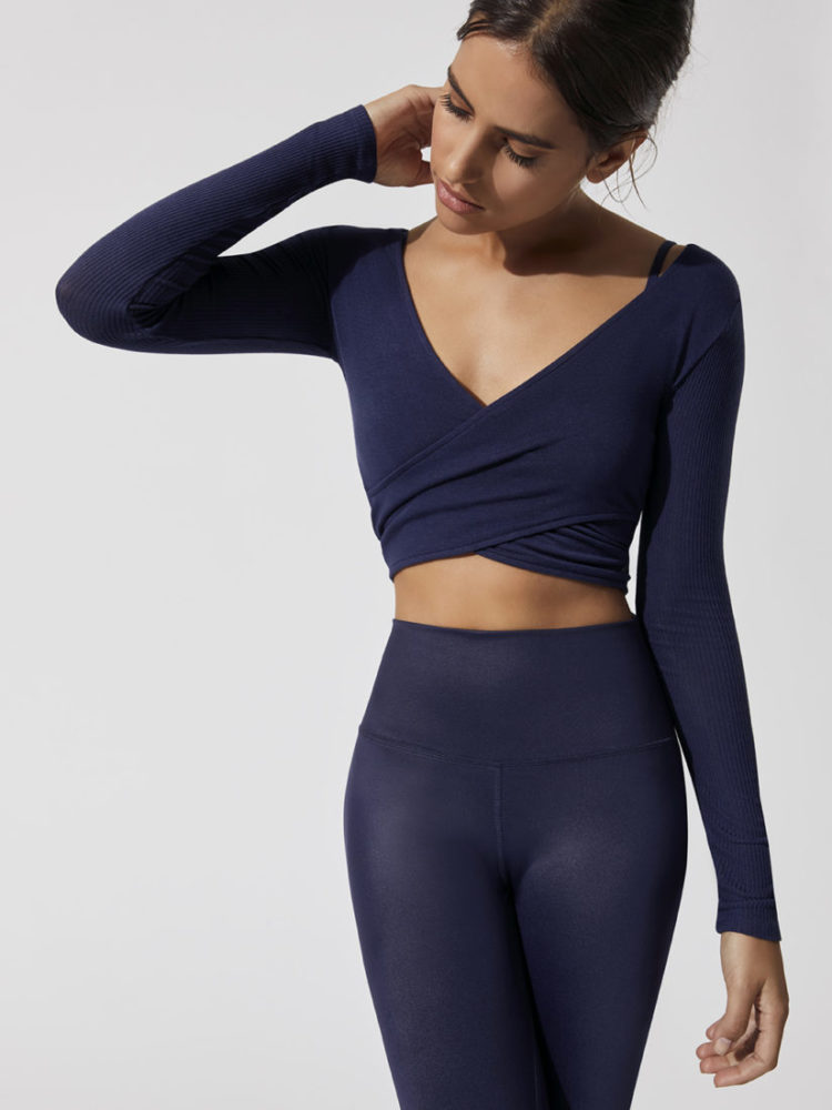 ALO Yoga Amelia Top Long Sleeve Crop Top -Sexy Yoga Top Rich Navy