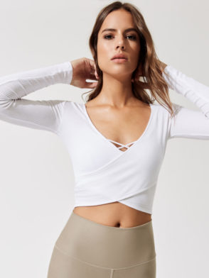 ALO Yoga Amelia Long Sleeve Crop -Sexy Yoga Tops white