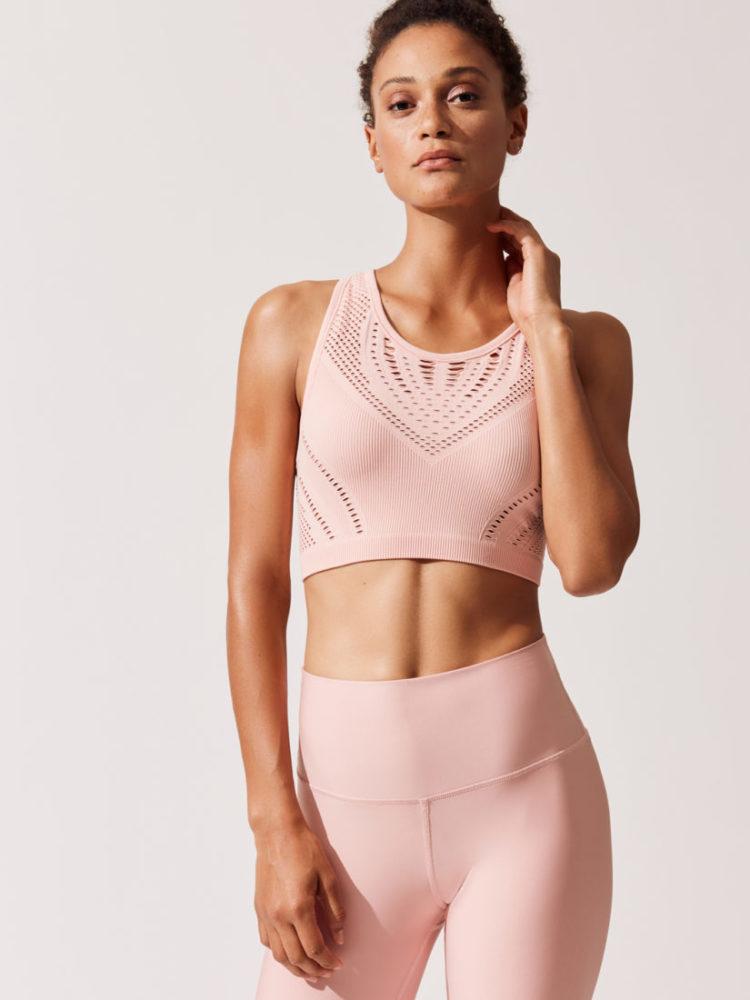 ALO Yoga Lark Crop Top -Sexy Yoga Tops Powder Pink