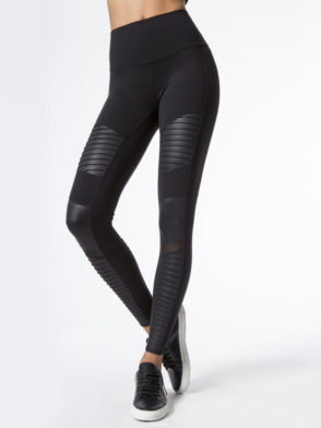 ALO Yoga Sexy Moto Yoga Leggings Sexy Pilates Leggings Black