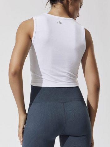 ALO Yoga Cover Tank -Sexy Yoga Tanks -Workout Tops White