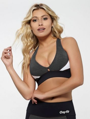 OXYFIT Bra Top Reach 27138 Charcoal Heather- Sexy Workout Bra – Cute Yoga Top