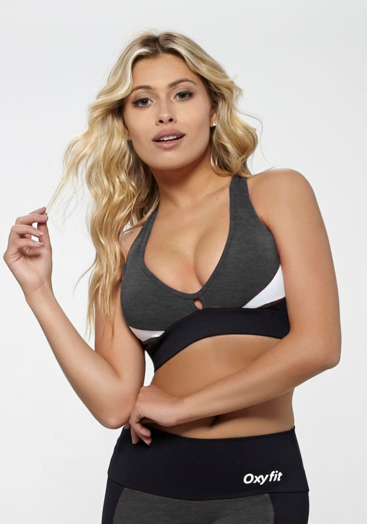 OXYFIT Bra Top Reach 27138 Charcoal Heather- Sexy Workout Bra - Cute Yoga Top