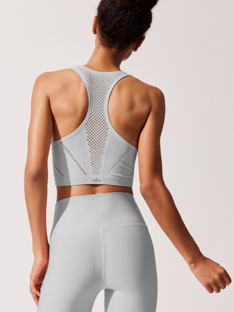 ALO Yoga Lark Crop Top -Sexy Yoga Tops Dove Gray Heather