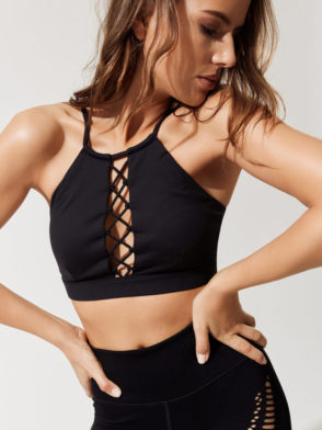 ALO Yoga Bra Starlet Lace Bra -Sexy Workout Bra Tops Black