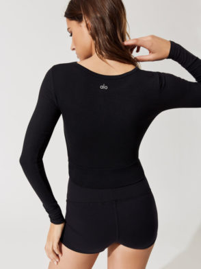 ALO Yoga Cover Long Sleeve Crop Top -Sexy Yoga Top Black