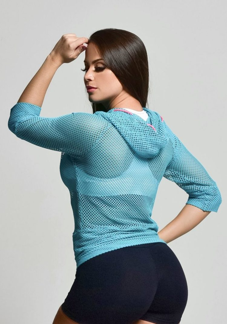 OXYFIT 3/4 Sleeve Mesh Hoody Top 46404 Fresh Blue- Sexy Workout Tops