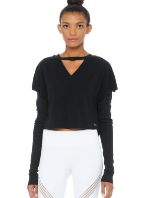 ALO Yoga Long Sleeve Top Reach – Sexy Yoga Tops Black