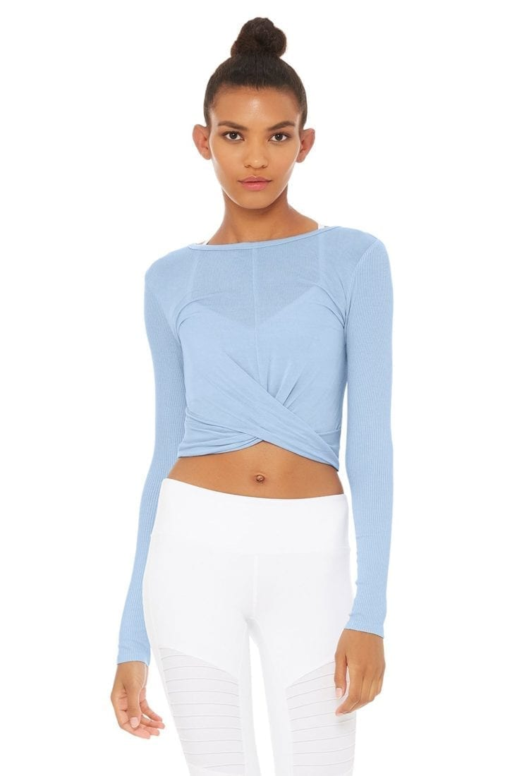 ALO Yoga Cover Long Sleeve Crop Top -Sexy Yoga Top UV BLue