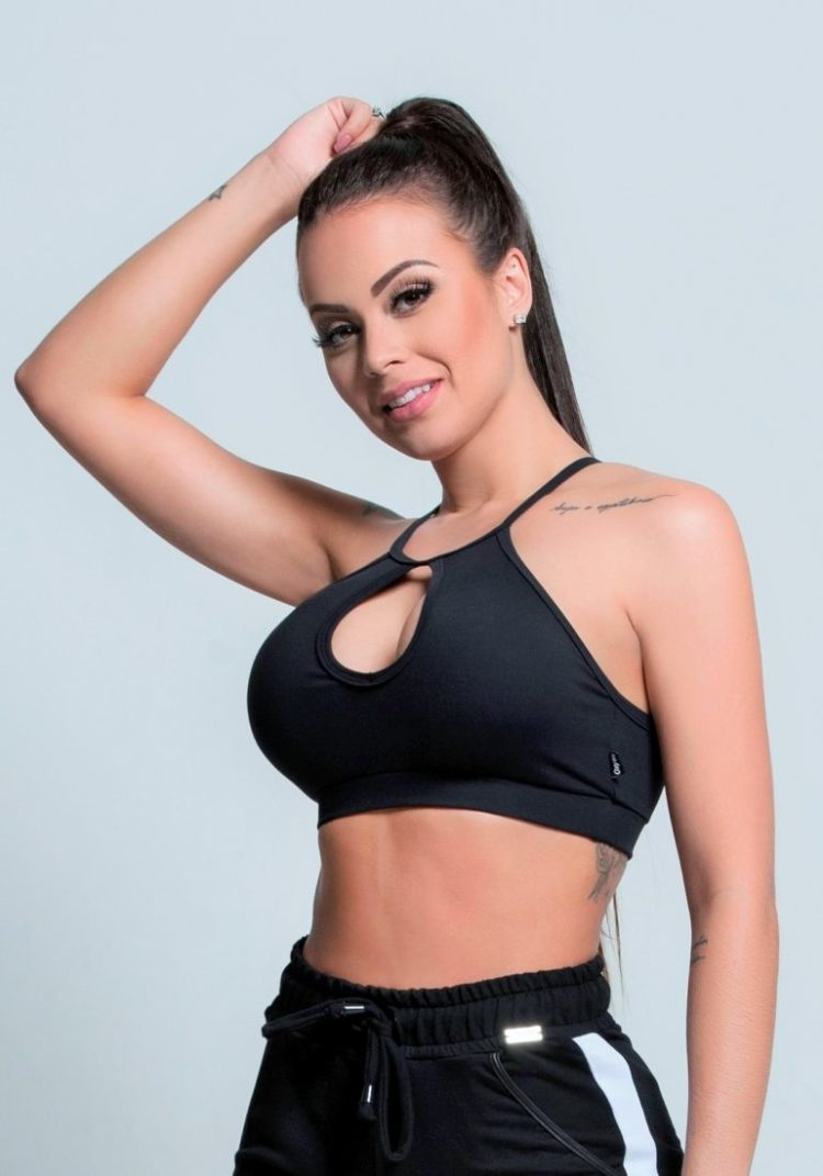OXYFIT Bra Top Trunk 27166 Black- Sexy Workout Bra - Cute Yoga Top