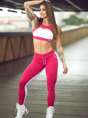DYNAMITE BRAZIL Leggings L2010 White Red Wine -Sexy Workout Leggings