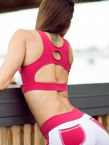 DYNAMITE Sports Bra Top T2018 White Red Wine-Sexy Tops