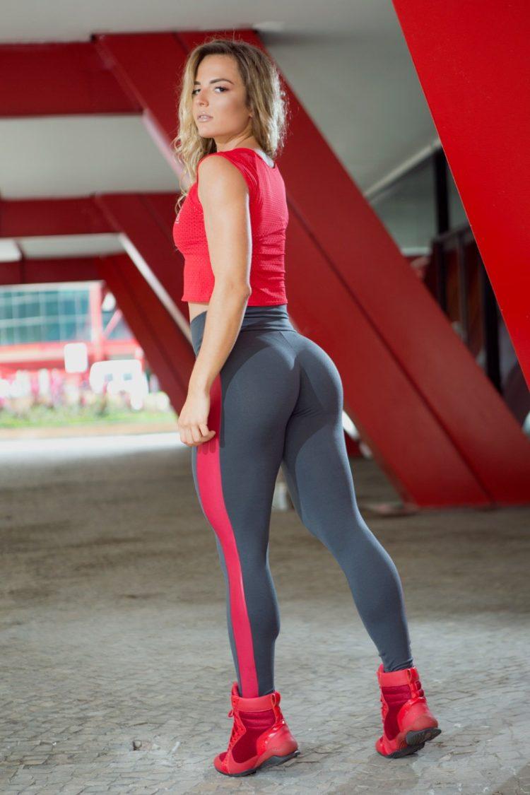 DYNAMITE BRAZIL Leggings L2012 ZARAK Grey Red -Sexy Workout Leggings