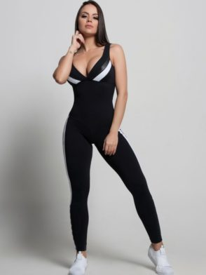 OXYFIT Jumpsuit Sight 15215 Black White- Sexy Rompers, Cute Workout 1-Piece